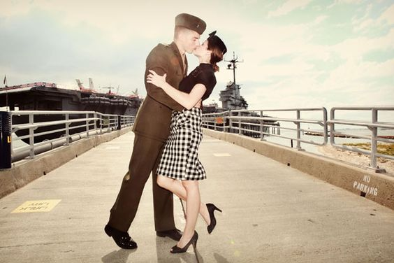 WWII vintage inspired (engagement) photo with a Marine and his girl. @Lisa Mitchell-Bell