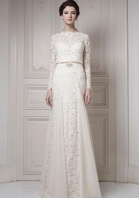 Ersa wedding dress lace long sleeves white ivory vintage style ...