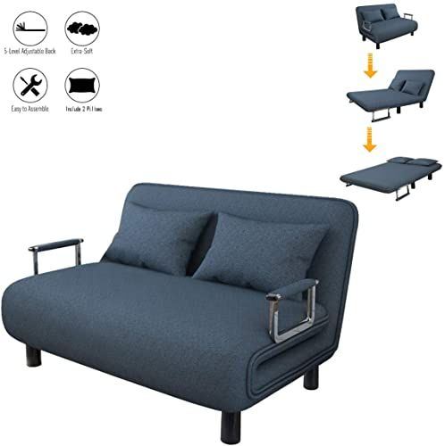Shop For Sofa Bed Twin Size Folding Sofa Bed Portable Sleeper Chaise Lounges Detachable Armrest Lroplie Arm Chair Sleeper Leisure Recliner Lounge Couch Blue In 2020 Folding Sofa Bed Lounge Couch