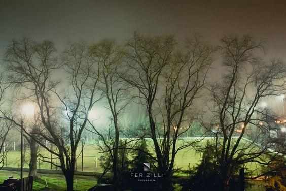 Práctica de rutina en la cancha del Polideportivo Unión,esta vez bajo la niebla