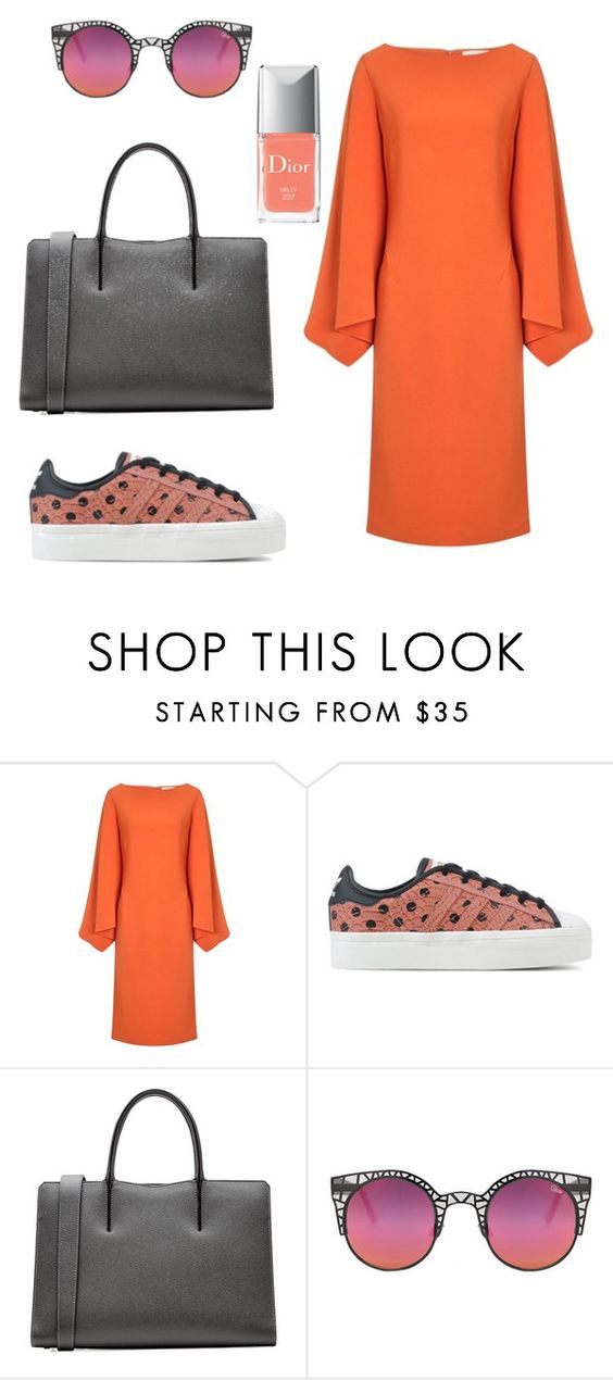 """#94 Оrange look"" by sophia-zhila ❤ liked on Polyvore featuring Osman, adidas Originals, Valextra, Quay and Christian Dior"