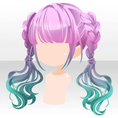 File Hairstyle Bi Color Pop Twin Hair Ver A Green Jpg Chibi Hair Anime Hair Manga Hair