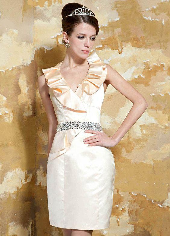 Elva Gorgeous Satin Sheath/Column Short Flouncing Halter Neckline Evening Dress