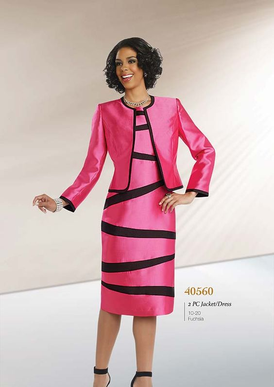 Clearance Chancelle 40560 Ladies Two Piece Jacket &amp Striped Dress