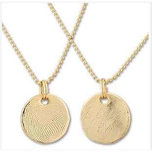 Gold Thumb Print Pendant Necklace Kits - Photo