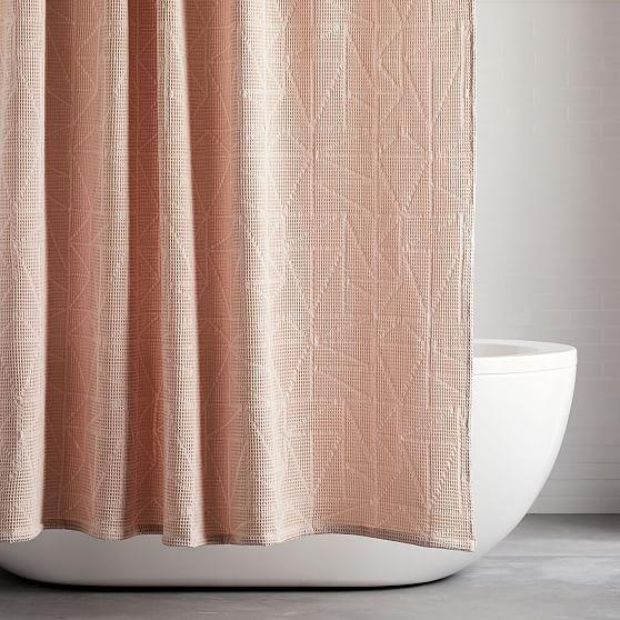 Organic Triangle Waffle Shower Curtain Pink Blush Westelm