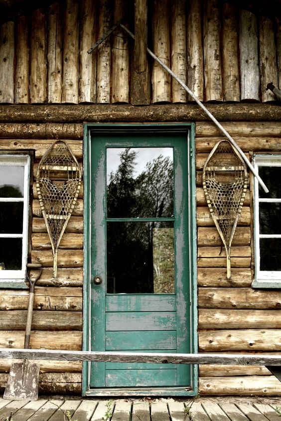 Rustic Back Doors : Cabin life back door with snowshoes at the ready