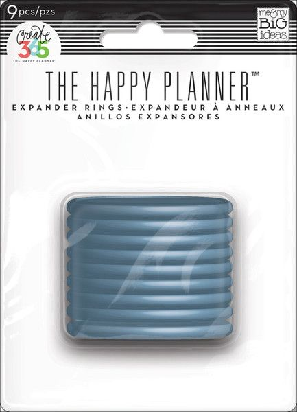 "Expander Rings - Blue - Need more space for all the goodies you're adding to your Happy Planner™?  Expander rings will give you some extra wiggle room. And for a little extra happiness...each ring has a heart in the center! Each package includes 9 expander rings that measure 1.75""."