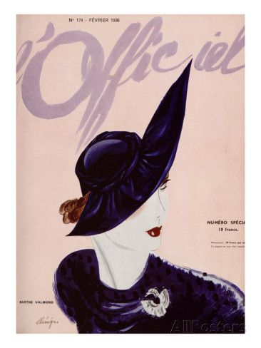 L'Officiel, February 1936 - Marthe Valmont Poster by Lbenigni at AllPosters.com