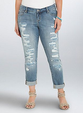Plus Size Torrid Premium Boyfriend Jeans - Light Wash with Paisley
