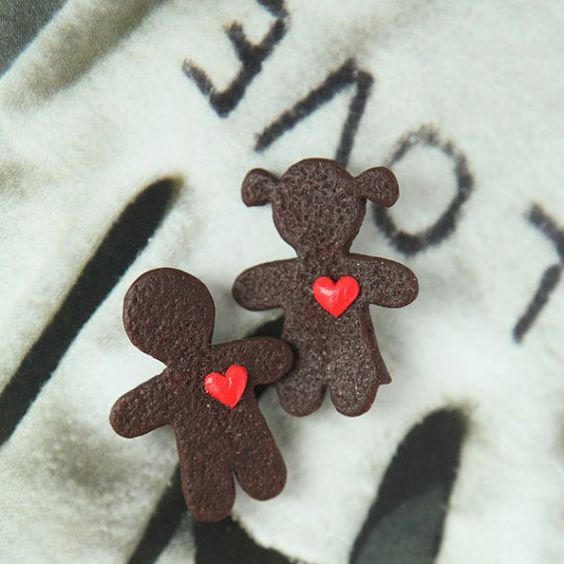 Gingerbread Couple Double  Brooch  Sweet Love  by Nechegonadet, $34.00