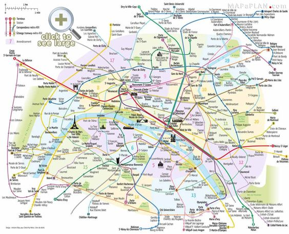 Paris top tourist attractions map Metro with favourite sights – Attraction Map of Paris