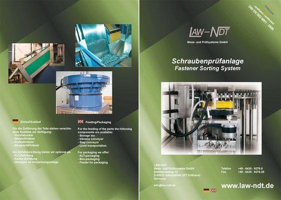 Für LAW-NDT Mess- und Prüfsysteme GmbH, in 65623 Zollhaus erhielt ich den Auftrag eine mehrseitige Broschüre über die Schraubenprüfsysteme des Unternehmens zu erstellen.