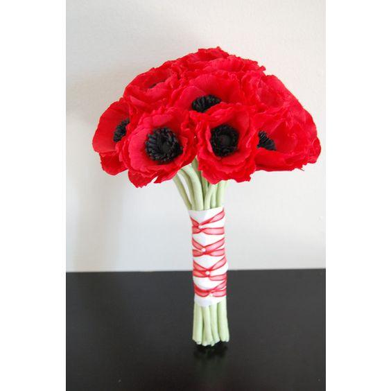 red poppies wedding bouquet wedding order found on Polyvore