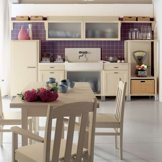 Aesthetic Italian Kitchen Design: Purple Tile Accents In Country Kitchen ~ Kitchen Inspiration