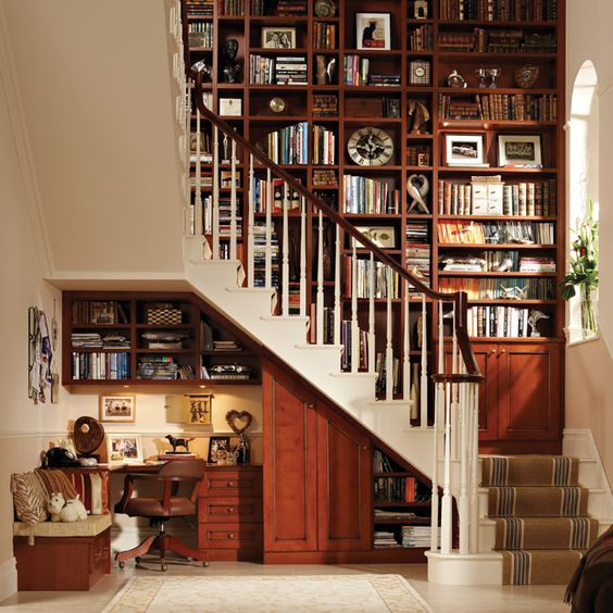 .: Bookcase, Home Libraries, Office Nook, Home Office, Dream House, Office Design, Under Stairs