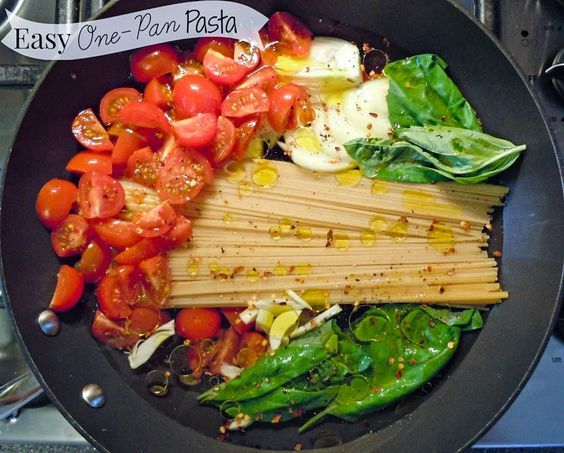 A simple, one pan pasta dish full of fresh ingredients & ready in minutes.