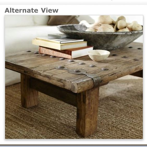Pottery barn rustic door coffee table love for the for Rustic door coffee table