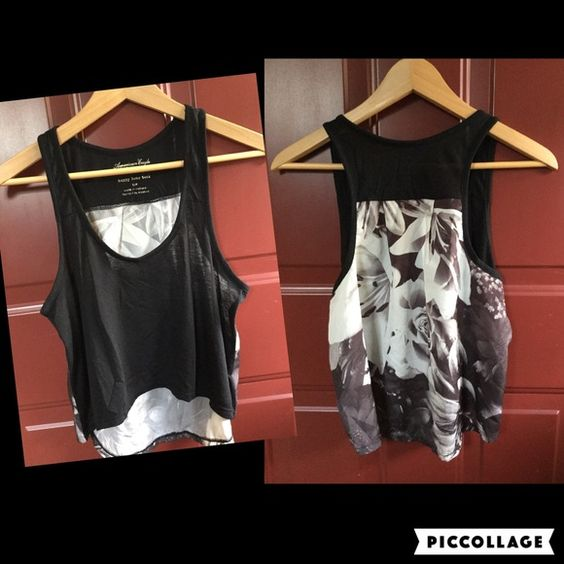 SALE ⭐️ American Eagle Happy Hour Tank American Eagle Crop Top - black in front and white and black floral print on back. It is rather sheer so a bandeau underneath would be perfect. Washed but never worn. American Eagle Outfitters Tops Crop Tops