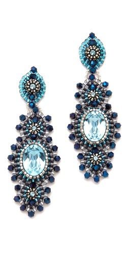 Miguel Ases Antique Silver & Crystal Earrings: