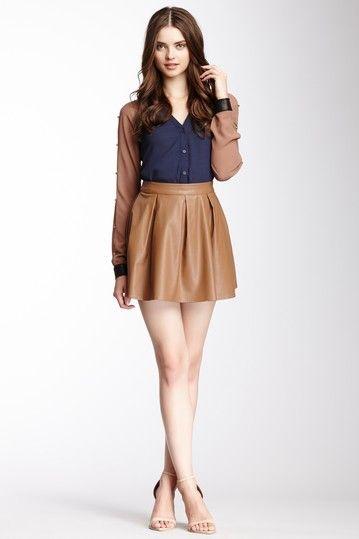 Faux Leather Pleated Skirt by Double Zero on @HauteLook | moda ...