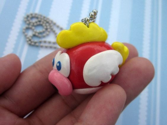 Mario Bros Flying Fish Necklace  Mario Bros by AGirlandHerClay, $20.00