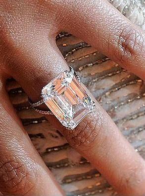 Beyoncé 18-carat emerald-cut diamond in platinum by Lorraine Schwartz