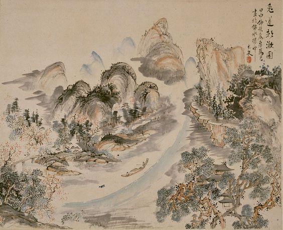 aoki mokubei 青木木米 1824 Morning view of the Uji River 兎道朝暾図