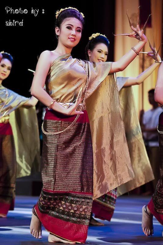 ฟ อนเล บ Thai Nail Dance ช ด ผ หญ ง ผ าไหม