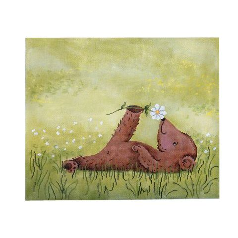 Relaxing+Little+Bear One of the hand painted needlepoint canvases now available with Heather Stillufsen's illustrations from Patti Mann Needlepoint.