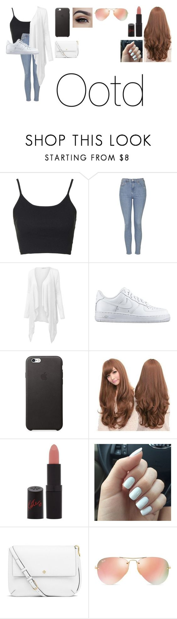 """Untitled #1339"" by phaniehoran ❤ liked on Polyvore featuring Topshop, J.TOMSON, NIKE, Sankins, Rimmel, Tory Burch, Ray-Ban, women's clothing, women and female"