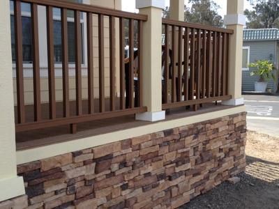 Stones porches and stairs on pinterest for Manufactured stairs