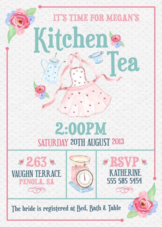 Kitchen tea invitation or bridal shower tea invitation for Bridal shower kitchen tea ideas