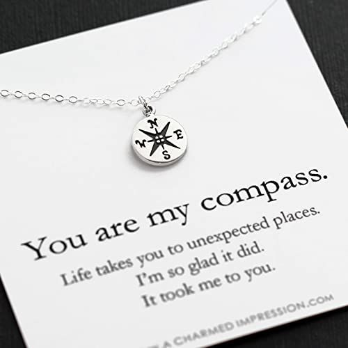 Beautiful You Are My Compass ฟฝ I D Be Lost Without You ฟฝ Persona Hand Crafted Gifts Sterling Silver Charm Necklace Girlfriend Gifts