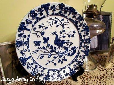 Quilled Blue and White China | Suzy's Artsy Craftsy Sitcom