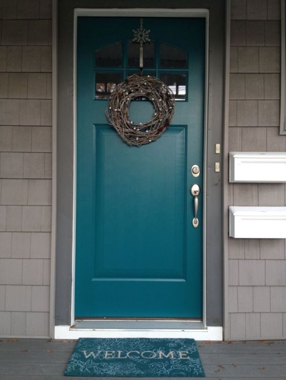 Teal front door use gray shutters on the brick house too - What color door goes with gray house ...