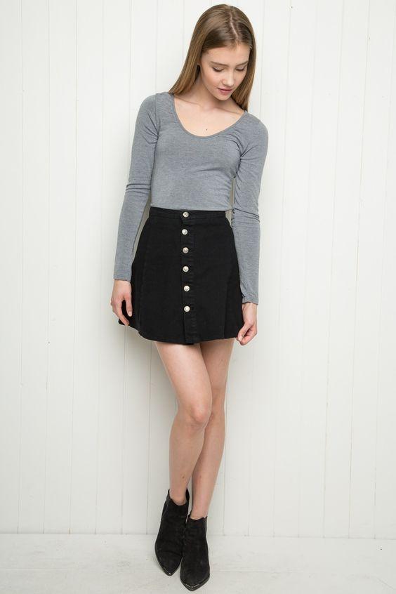 What To Wear With Black Denim Skirt - Dress Ala
