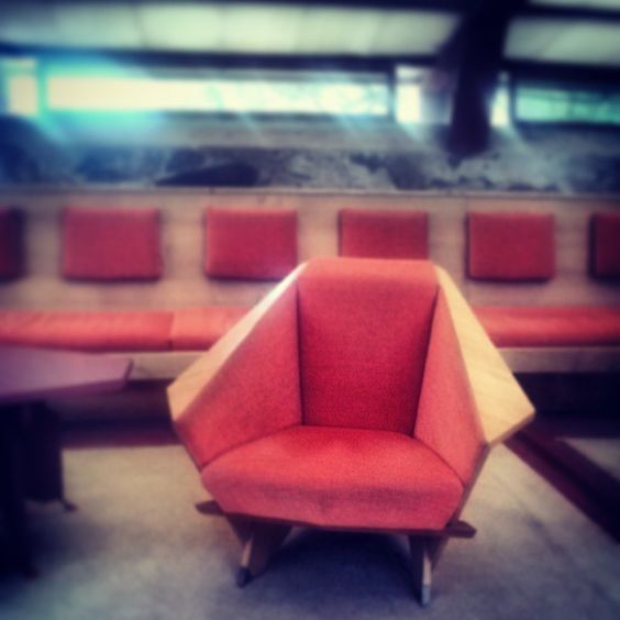Origami Chair in the #TaliesinWest Garden Room #FrankLloydWright #WrightSites #Architecture #Design #Nature #OrganicArchitecture #Phoenix #Scottsdale #Desert #Interior Design #Origami #Furniture #MidCenturyModern