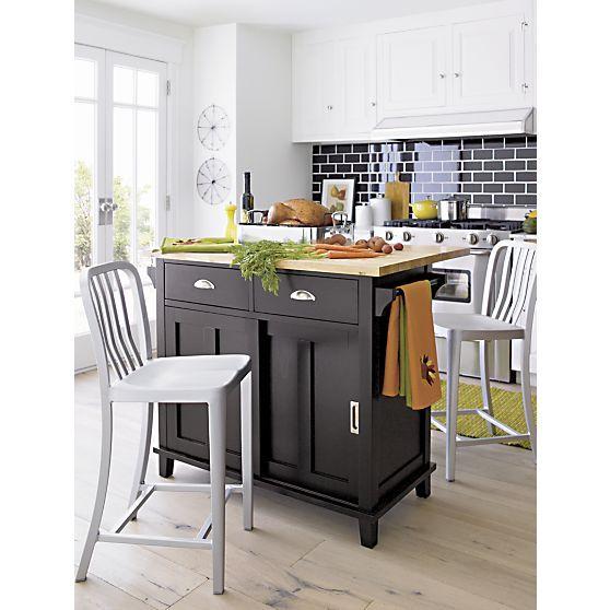 Belmont black kitchen island crate and barrel kitchen island cart and crates - Stylishly modern kitchen islands additional work surface ...