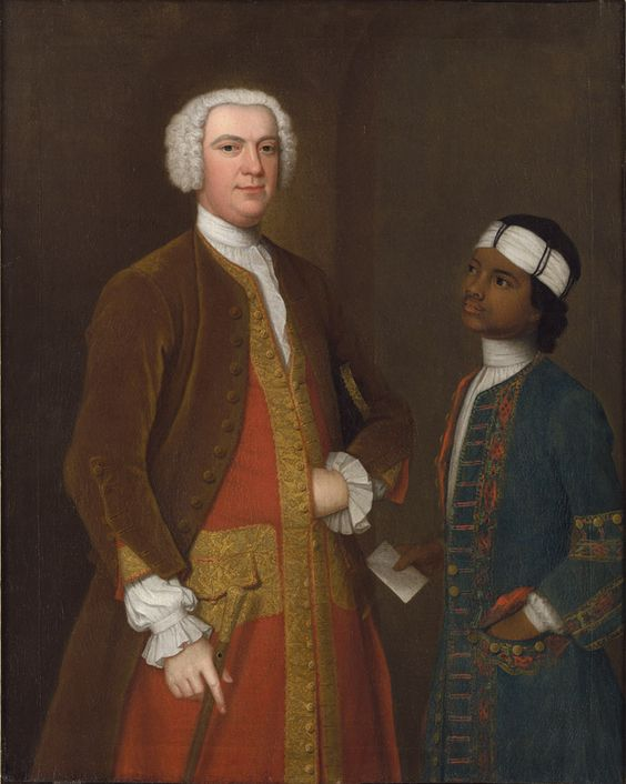 Portrait of a Gentleman with a Young Servant, possibly Sir George Thomas Bt (c.1695-1774), by Charles Philips