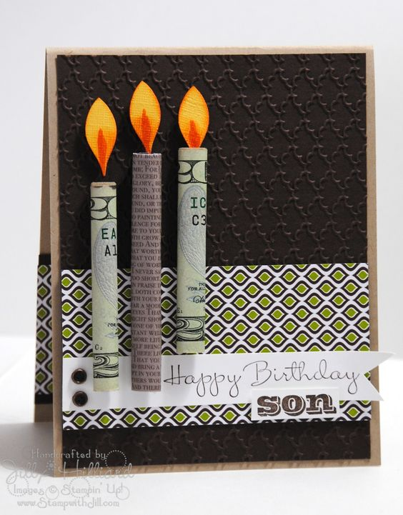 Money Birthday Card - the gift is the rolled up money birthday candle #papercrafts:
