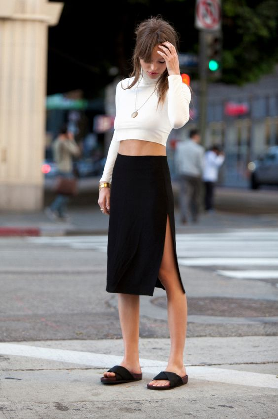 Everything...especially the skirt: http://thereformation.com/EMPRESS-SKIRT-BLACK.html