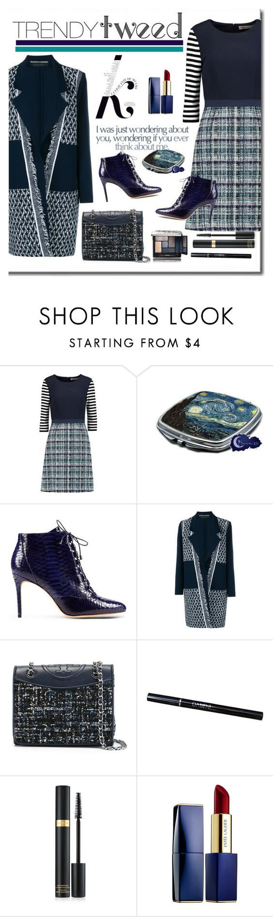 """Trendy Tweed"" by defineyourstyle ❤ liked on Polyvore featuring KAROLINA, Etro, Alexandre Birman, Roland Mouret, Tory Burch, Tom Ford, Estée Lauder, Guerlain and trendytweed"