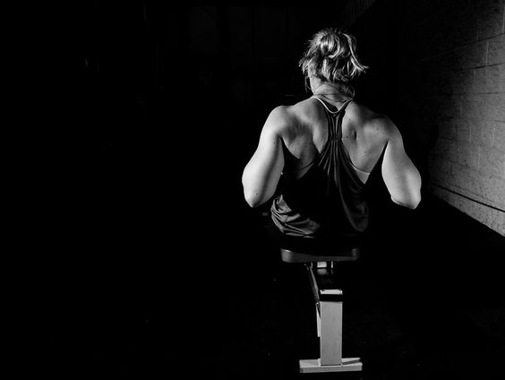 Andrea Hanley rowing on a C2 rower at Progressive Fitness CrossFit. Crossfit image, picture, photo, photography of health, elite, exercise, training, workouts, WODs, taken at Progressive Fitness CrossFit,Colorado Springs, Colorado, USA