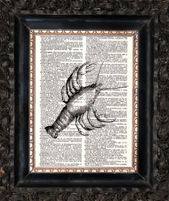 Lobster On Dictionary Page Upcycled Book by HeatherMeadOriginals