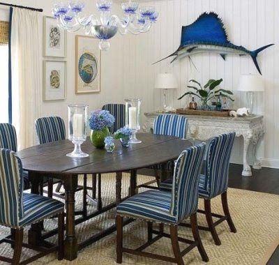 Blue And White Nautical Dining Room Decor Minus The Fish