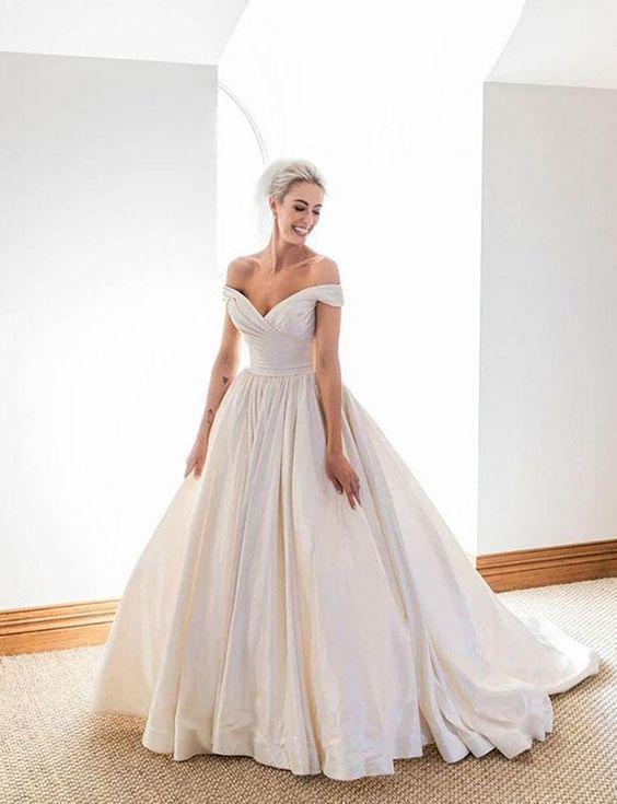 Elegant Off The Shoulder White Satin Ball Gown Wedding Prom