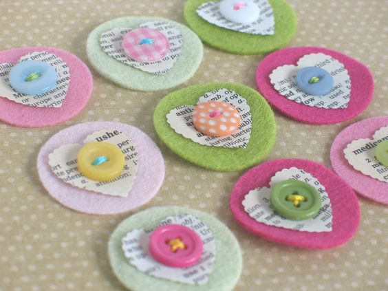 felt, paper, button embellies