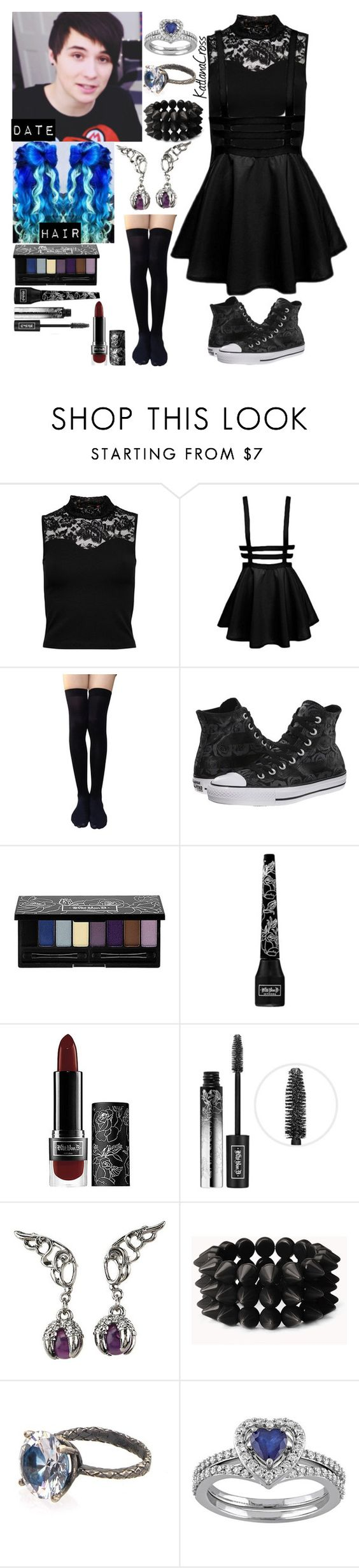 """""""For @potatolover123"""" by katlanacross ❤ liked on Polyvore featuring ONLY, Converse, Kat Von D, Forever 21 and Bottega Veneta"""