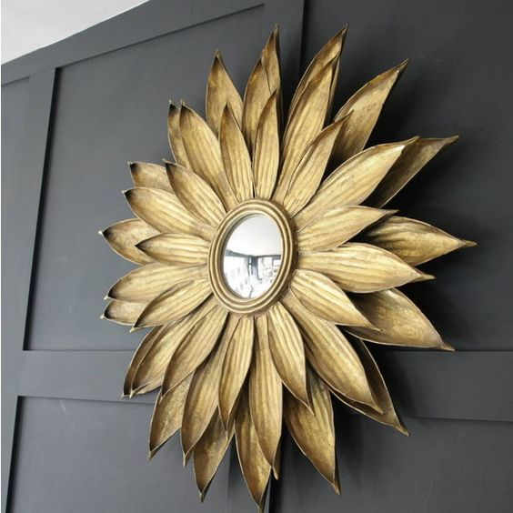 Ella James Antiqued Gold Sunflower Wall Mirror (460 AUD) ❤ liked on ...